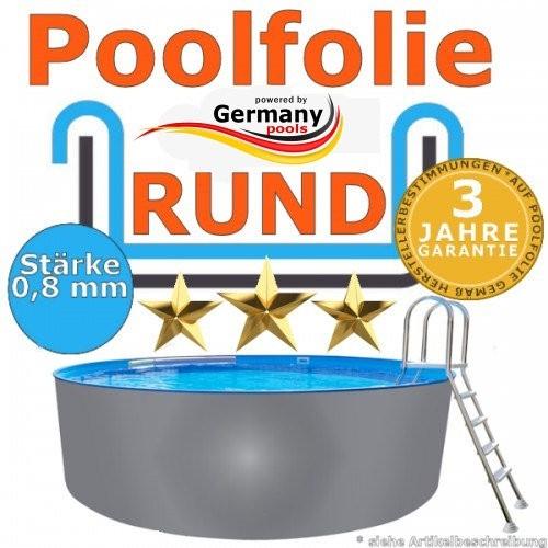 2,50 x 1,20 m x 0,8 Poolfolie rund bis 1,50 m