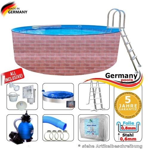 420 x 120 cm Poolset Gartenpool Pool Komplettset Brick
