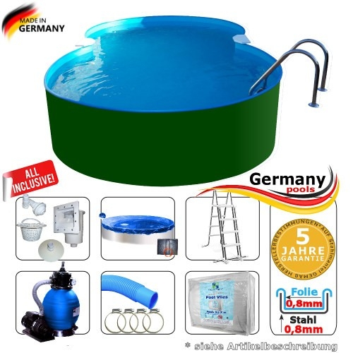 5,25 x 3,20 x 1,25 m Achtform-Stahlwandpool Set Stahl-Pool