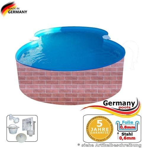 525 x 320 x 120 Pool achtform Achtform Pool Brick Ziegel
