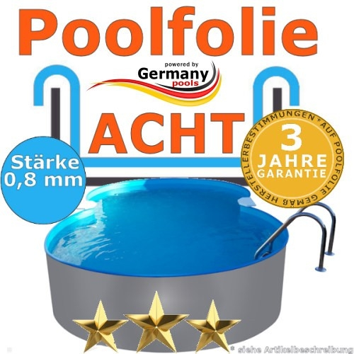 6,25 x 3,60 x 1,20 m x 0,8 Poolfolie achtform bis 1,50 m