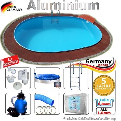 7,0 x 3,5 x 1,25 Alu Schwimmbecken Swimmingpool Komplettset