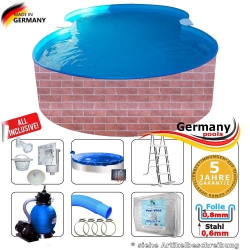7,25 x 4,60 x 1,20 Pool achtform Achtformbecken Set