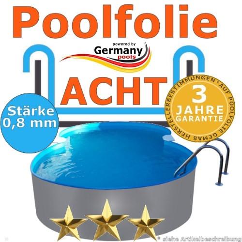 7,25 x 4,60 x 1,20 m x 0,8 Poolfolie achtform bis 1,50 m