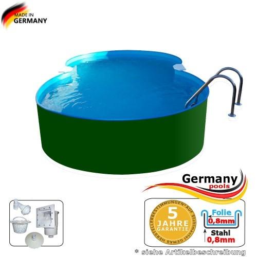 7,25 x 4,60 x 1,25 m Achtform-Stahlwandbecken Poolbecken