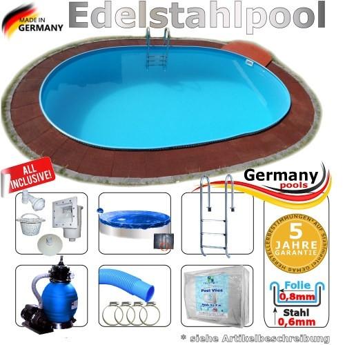 8,0 x 4,0 x 1,25 m Edelstahl Ovalpool Einbau Pool oval Komplettset