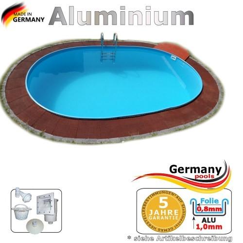 8,00 x 4,00 x 1,50 m Aluminium Ovalpool Alu Einbaupool