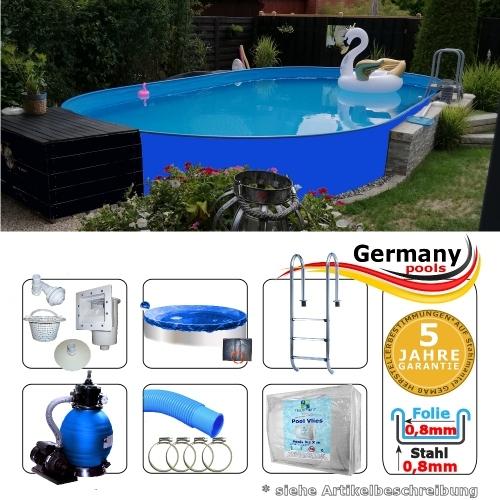 Ovalbecken Blau 8,0 x 4,0 x 1,25 m Komplettset