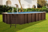 6,40 x 4,00 x 1,33 m Holzpool oval Holzbecken Pool
