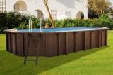 6,40 x 4,00 x 1,33 m Holzpool oval Holzbecken Pool Set