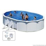 7,30 x 3,75 x 1,20 m Ovalpool Breiter Handlauf Pool