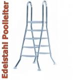 Poolleiter 1,50 m Edelstahl V2A Hochbeckenleiter mit Plattform