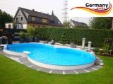 8,55 x 5,00 m Pool Randsteine Achtformbecken Achtformpool Beckenrandsteine