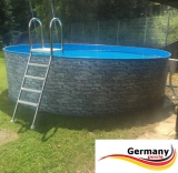 360 x 120 cm Poolset Stone Pool Steinoptik