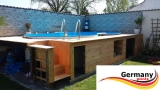 7,25 x 4,60 x 1,20 Achtformpool-Holz-Optik Achtform-Wood Set