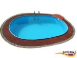 Ovalbecken Rot 7,37 x 3,6 x 1,25 m Komplettset