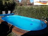 Ovalbecken Blau 4,9 x 3,0 x 1,25 m Komplettset