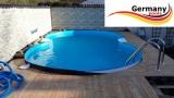 8,55 x 5,00 x 1,25 m Alu-Achtformpool Alu-Achtformbecken Pool