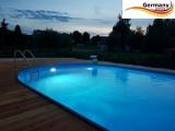 Ovalbecken Blau 5,5 x 3,6 x 1,25 m Komplettset