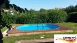 Ovalbecken Ziegel 7,37 x 3,6 x 1,20 m Komplettset