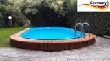 Ovalbecken Holz Design 5,85 x 3,5 x 1,20 m Komplettset