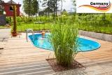 5,85 x 3,5 x 1,25 m Edelstahl Ovalpool Einbau Pool oval Komplettset