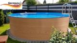 3,50 x 1,20 Holzpool Dekor Holz Design Pool Holz-Optik