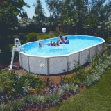 7,30 x 3,60 x 1,32 m Stahlwandpool oval Center Pool freistehend Set